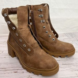 HARLOW / Sherpa Lined Lace up Combat Boots